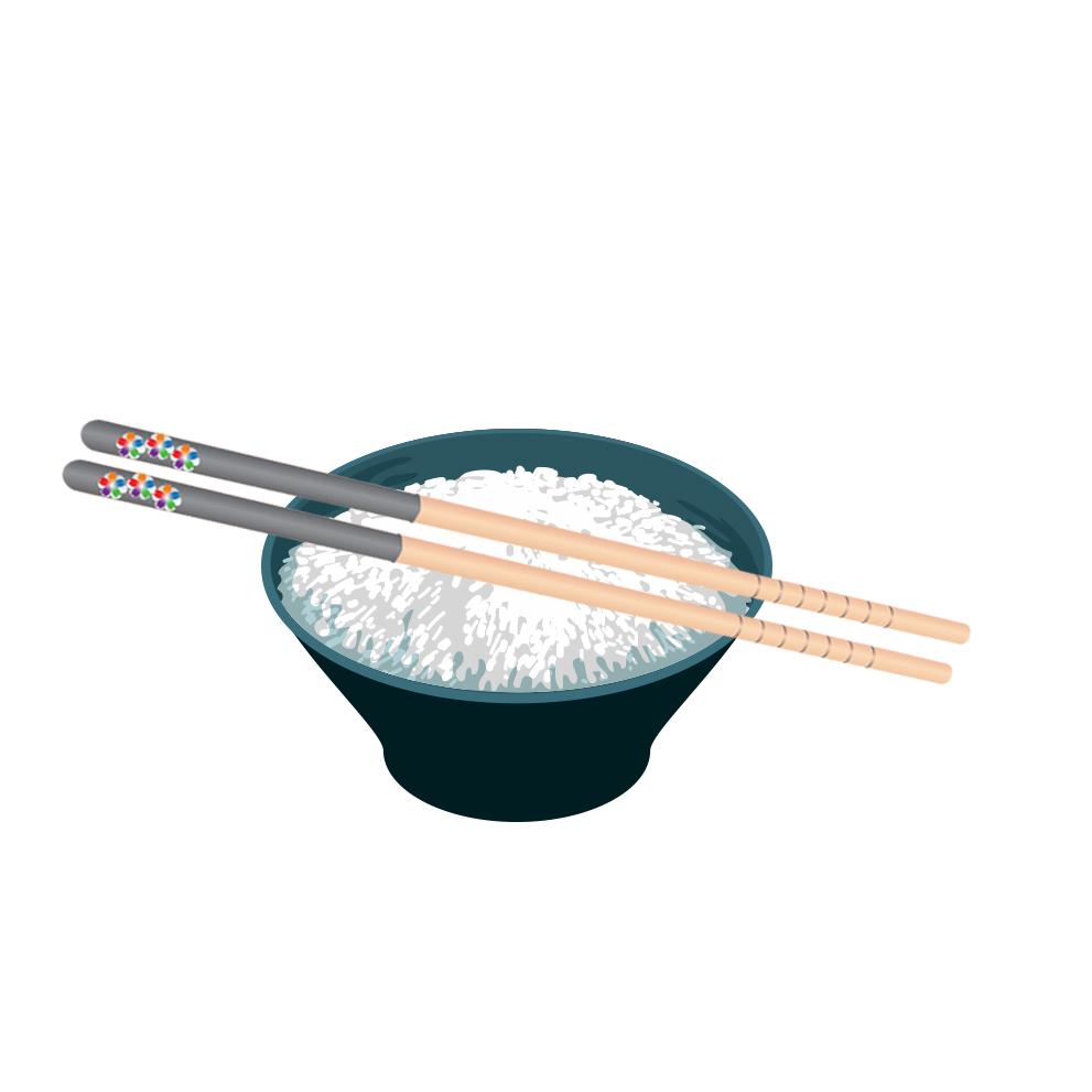 把筷子放在盤子上。